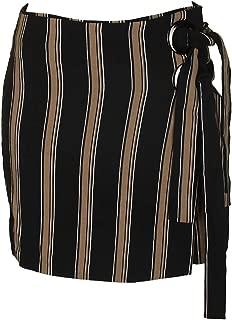 JOA Womens Asymentric Striped Wrap Skirt