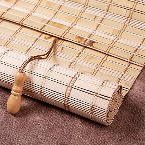 Estor de bambú opaco, natural, de alta calidad, estor de bambú para interiores, práctico protector solar y privacidad, transpirable, decoración principal para la terraza exterior (100 x 180 cm)