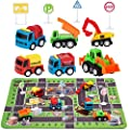 """Construction Toys with Play Mat, Engineering Vehicles Set Include 6 Construction Trucks, 4 Road Signs, 14"""" x 18"""" Playmat, Mini Pull Back Car Toys,Perfect Construction Birthday Party Supplies from SunbriloStore"""
