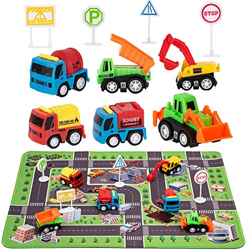 Construction Toys with Play Mat Engineering Vehicles Set Include 6 Construction Trucks 4 Road Signs 14quot x 18quot Playmat Mini Pull Back Car Toys,Perfect Construction Birthday Party Supplies
