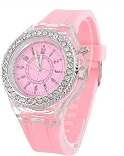 Godagoda Lady's Diamond-Encrusted Silicone Strap Watch Jelly Quartz Wrist Watches