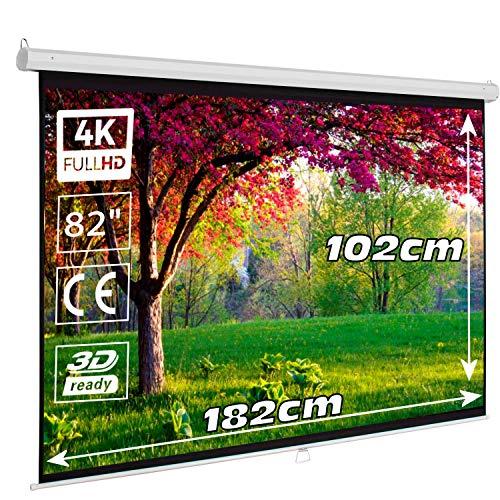 """Pantalla de proyección Manual 82"""" Formato 16:9, Area Blanca 182 x 102 cm, Cajetin de Acero 204 cm, Pantalla para proyector Compatible hasta 4K"""
