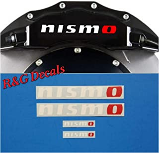 R&G NISMO Brake Caliper HIGH TEMP Decal Sticker Set of 4 Decals + Instruction and Decal Surface Preparation Solution(White & Red)