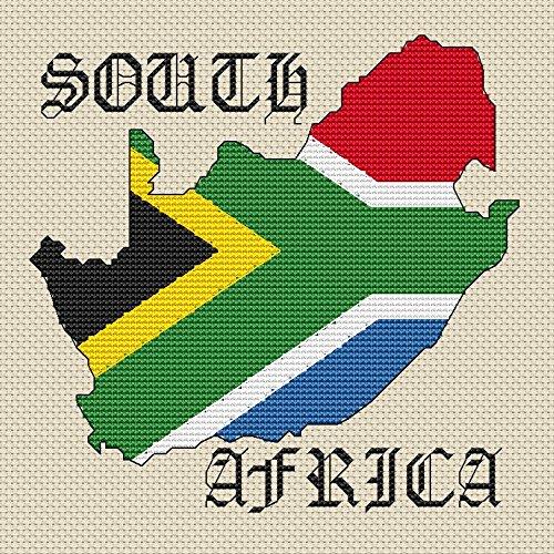 Zuid-Afrika Kaart & Vlag Cross Stitch Kit door Elite Designs