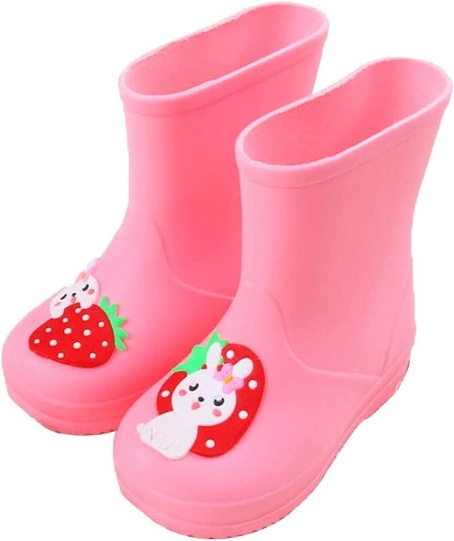 SYZHIWUJIA Rain Boots Children's Cartoon Rain Boots Children's Non-Slip Rain Boots Light and Soft Rain Boots Water Shoes Children's rain Boots (Color : Pink, Size : 17cm)