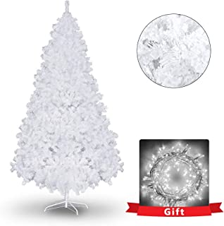 7.5ft White Flocked Artificial Christmas Pine Tree w/Metal Stand 1,400 Tips and 600 Led Clear Wire Lamp Strings