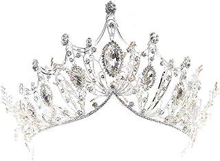 REYOK-Corona de la Reina de Cristal, Tiara de Lujo de Plata, diseño de Corona de Cristal Grande para Fiesta o Boda de Las ...