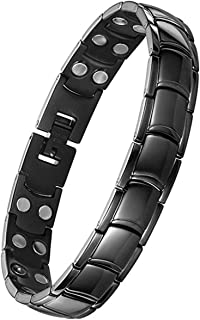 Feraco Pure Titanium Hematite Magnetic Bracelet for Men Pain Relief Arthritis Effective Healing, Black