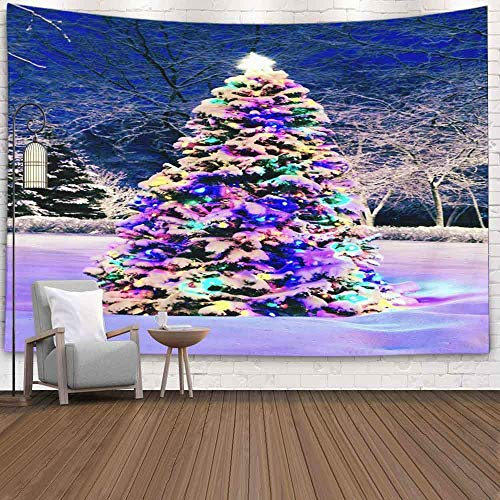 Winter Snow Tapestry, Home Christmas Theme Tapiz para colgar en la pared Art TapestryChristmas Tree Outside with Lights Navidad Año Nuevo Invierno Interior Decoraciones para el hogar Dormitorio Tapiz