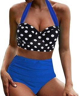 Dainzuy - Bikini para Mujer, Traje de baño de Cintura Alta, Pieza de Remolque, Traje de baño para Mujer, Estilo Retro Bohemio