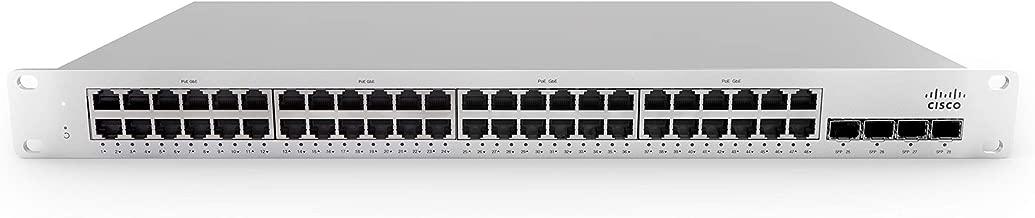 Meraki MS210-48LP-HW Ethernet Switch - 48 x Gigabit Ethernet Network, 4 x Gigabit Ethernet Uplink, 2 Stack - Manageable - Twisted Pair, Optical Fiber - Modular - 3 Layer Supported - 1U High - Rack-mou