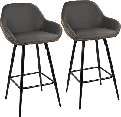 Set of 2 Black and Gray Clubhouse Counter Barstools 36""
