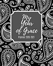 My Year of Grace Planneer 2020-2021: Weekly and Monthly Planner with Inspirational Bible Quotes, July 2020 to December 2021, Calendar views, Schedule ... Paisley Black&White Cover, Large Size