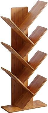 C&AHOME Tree Bookshelf, Bamboo Wood Bookcase, Book Rack, Storage Rack Shelves in Living Room, Free-Standing Books Holder Orga