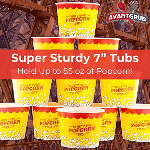 Product Image 7: Leakproof, Super Durable 85oz Popcorn Buckets 3 Pack. Grease-Proof Disposable Pop Corn Tubs With Cool Design Are the Ultimate Movie Theater Accessory. Large Containers Great for Any Party or Event