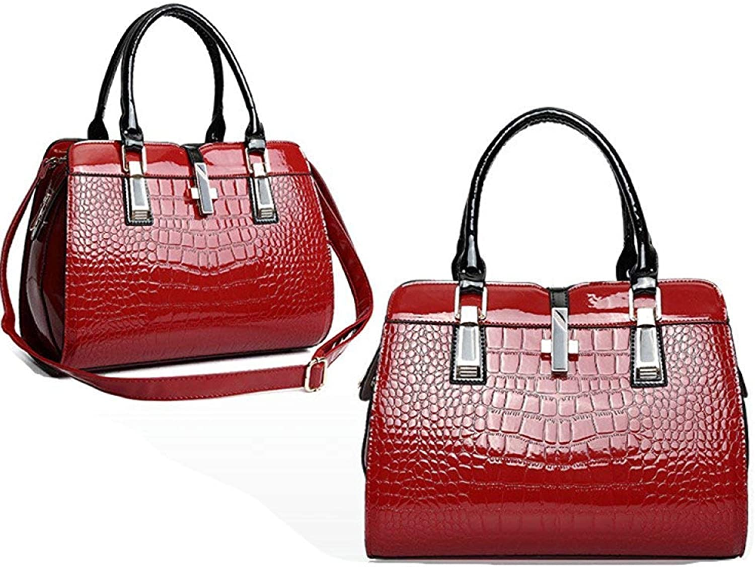 Ladies Handbag Patent Leather Handbags Crocodile Pattern Handbags Set Summer 2018 New Wave Europe and The United States Ladies Shoulder Diagonal Package (color   4, Size   32  25  12cm)