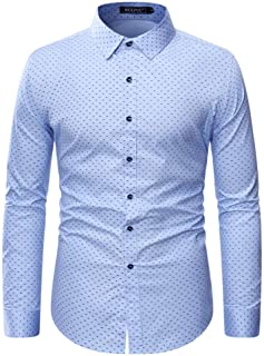 Sponsored Ad - WULFUL Men's Casual Long Sleeve Dress Shirt Print Cotton Business Button Down Shirts Regular Fit