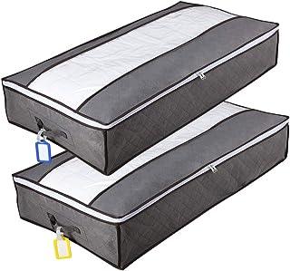 Hmlike Lot de 2 boîtes de rangement pour dessous de lit avec couvercle transparent et poignées renforcées - 90 l - Grande ...