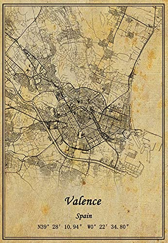 Póster de mapa de Valencia de España para pared con impresión en lienzo, estilo vintage, sin marco, decoración de regalo de 50 x 76 cm