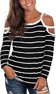 Jescakoo Women's Short Sleeve Cut Out Cold Shoulder Tops Deep V Neck T Shirts