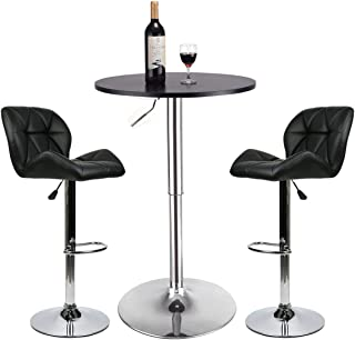 YOURLITEAMZ Bar Table Set of 3 – Adjustable Round Table and 2 Swivel Pub Stools (Black Table and Black Chairs)