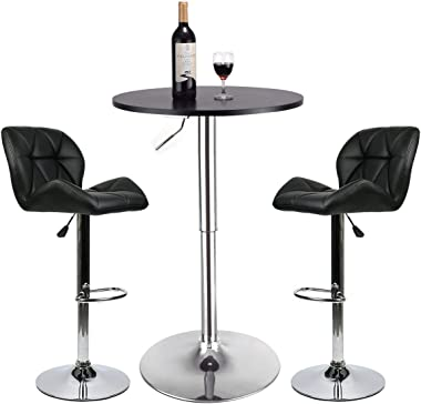 Bar Table Set of 3 – Adjustable Round Table and 2 Swivel Pub Stools (Black Table and Black Chairs)