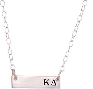 Kappa Delta Sterling Silver Horizontal Bar Necklace Greek Sorority Letter with Adjustable Chain KD
