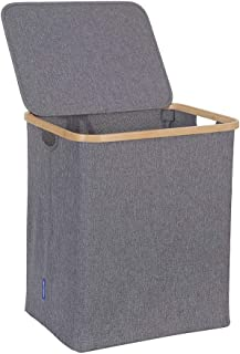 HOSROOME Bamboo Laundry Basket with Lid Hampers for Laundry Hamper with Handles Foldable Hamper Easily Transport Laundry,Grey