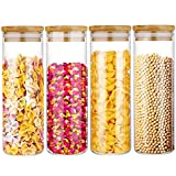 4 Pack 20oz/600ml Glass Food Storage Jars Kitchen Glass Canisters with Airtight Bamboo Lid,Clear Round Glass Storage Jars for Sugar,Coffee,Flour,Candy,Cookie,Spice,NOT FOR SPAGHETTI