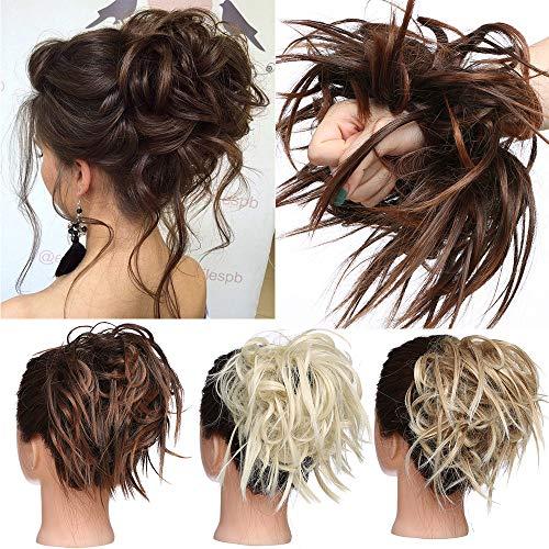 TESS Haarteil Dutt Haargummi mit Haaren Glatt struppige Haarknoten Hochsteckfrisuren günstig Haarverlängerung für Frauen 45g Kastanienbraun/Braun