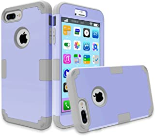 iPhone 7 Plus Case, MCUK 3 in 1 Hybrid Best Impact Defender Cover Silicone Rubber Skin Hard Combo Bumper with Scratch-Resistant Case for Apple iPhone 7 Plus (2016) (Light Purple+Grey)