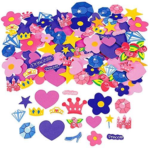 Elfen und Zwerge - Aufkleber Prinzessin - Krone, Zauberstab und vieles mehr - aus Moosgummi - für Kinder - selbstklebend - 2 Bögen (90 Sticker)