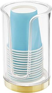 (نحاسي شفاف/ناعم) - موزع أكواب ورقية صغير الحجم من البلاستيك العصري القابل للاستعمال مرة واحدة - حامل تخزين لشطف الأكواب ع...
