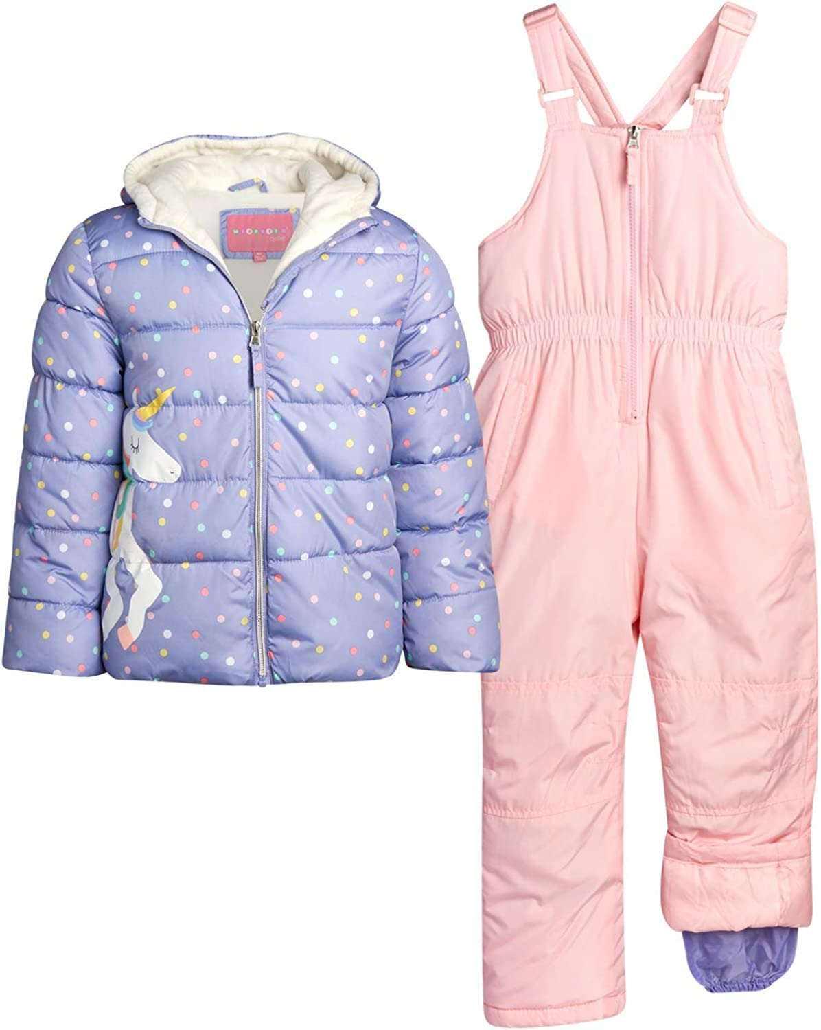 Wippette Girls Heavyweight Insulated Ski Jacket and Snow Bib Snowsuit Set Infant//Toddler//Little Girls