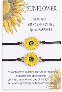 Handmade Sunflower Boho Bracelet Friendship Jewelry for Women Girl 2 Set
