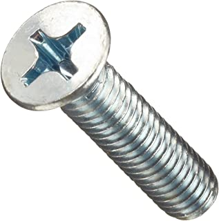 Class 4.8 Steel Machine Screw, Zinc Plated Finish, Flat Head, Phillips Drive, Meets DIN 965, 8mm Length, M3.5-0.6 Metric Coarse Threads (Pack of 100)