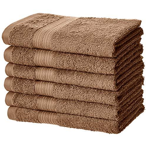 Amazon Basics Handtuch aus Baumwolle, farbbeständig, 6 Stück, Eichelbraun