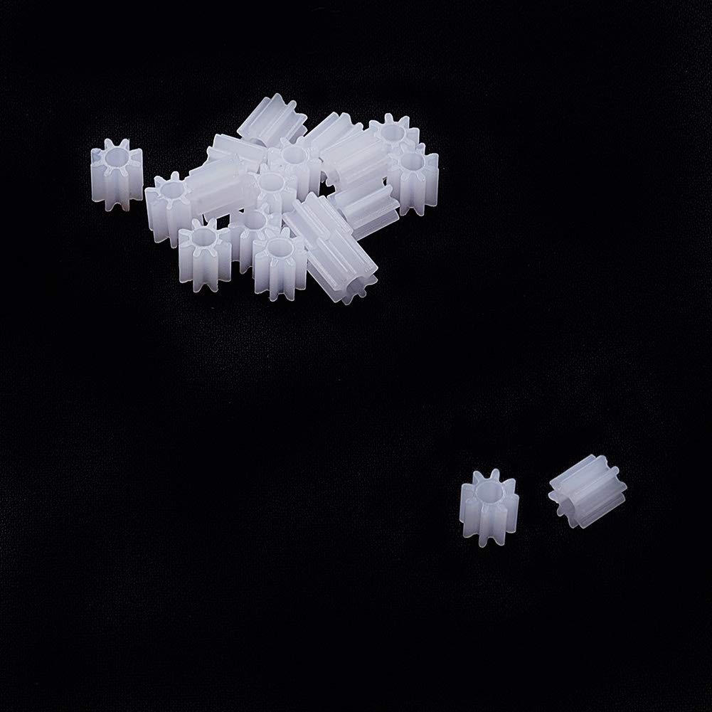 Othmro 20pcs Plastic Gear White 8 Teeth 0.5 Modulus Model 082A for DIY RC Car Robot Motor