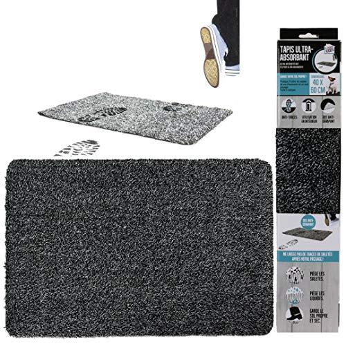LNG Tapis entree interieur exterieur - paillasson exterieur - tapis exterieur - tapis de sol - tapis cuisine - tapis antiderapant - tapis absorbant noir gris - 40x60cm - lavable et imperméable