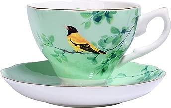 170ml Romantic Flower Ceramic Bone China Coffee Cup and Saucer Set Water Milk Mug British Black Tea Drinkware Cafe Latte Cup,C