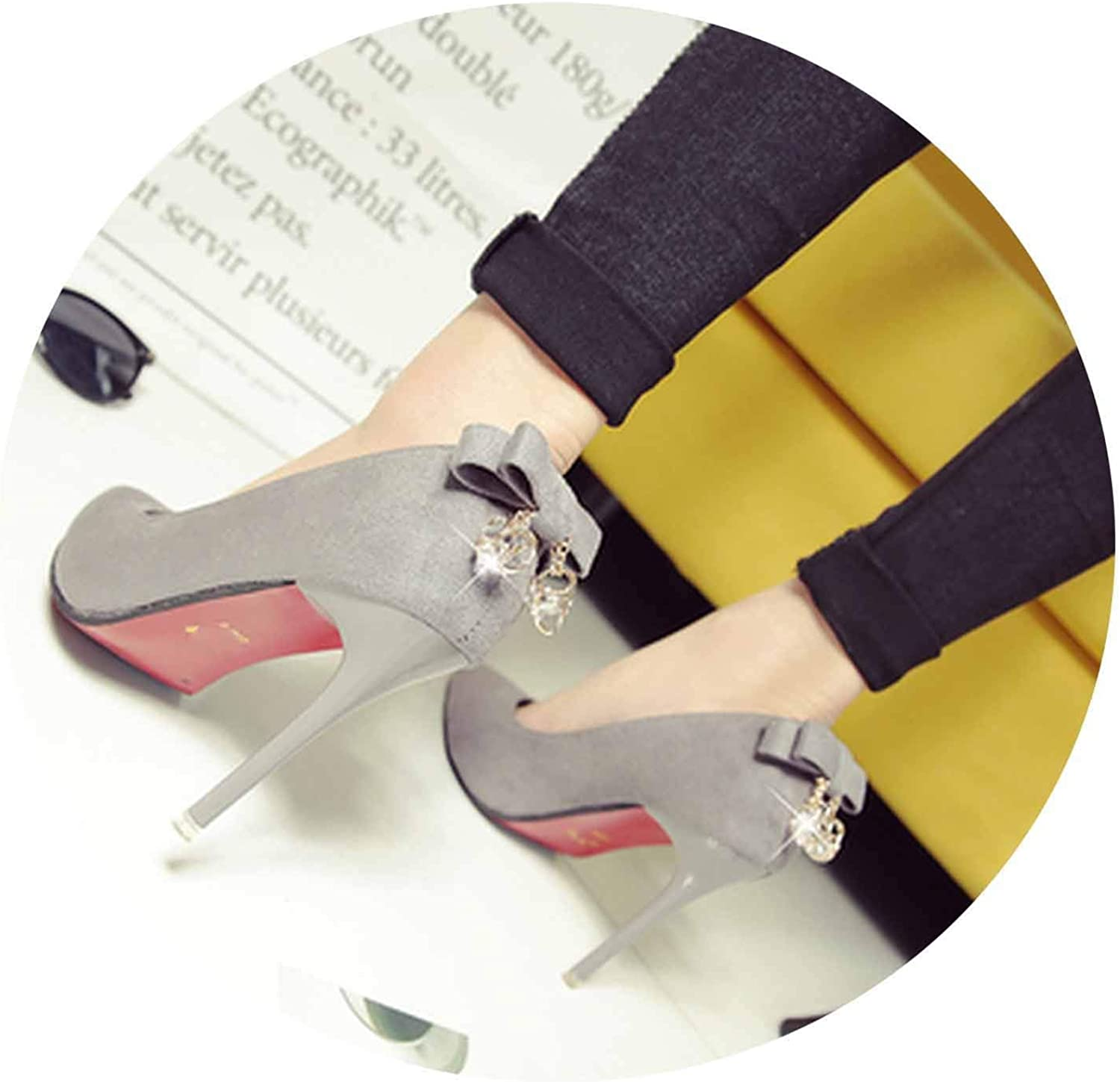 Women Cute Black high Heel shoes Flock Spring & Summer Slip on shoes Cool Grey shoes