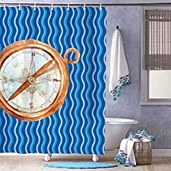Compass Clock Orange Wall Clock Bath Curtain Shower or Door Curtain Bath Decor, Bathroom Decor, Cool Shower Curtain, Steampunk, Shower Set, Hooks Included