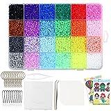 Johiux - Set di 15000 perline da stirare, con perline da stirare, in scatola organizer, 24 colori, kit creativo fai da te con perline da stirare glitterate per bambini