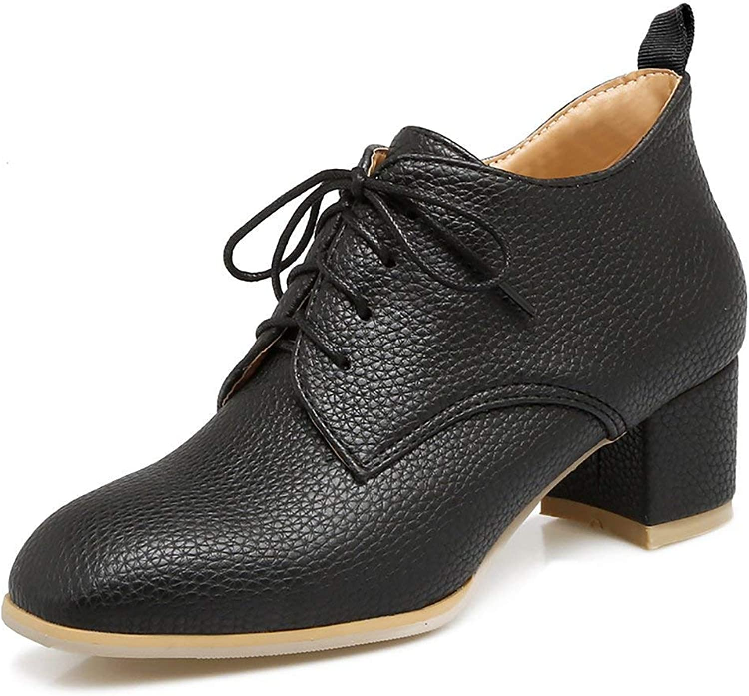 KAOKAOO Oxford Heels shoes Women Fashion Vintage Solid Ankle Booties Lace up Dress shoes