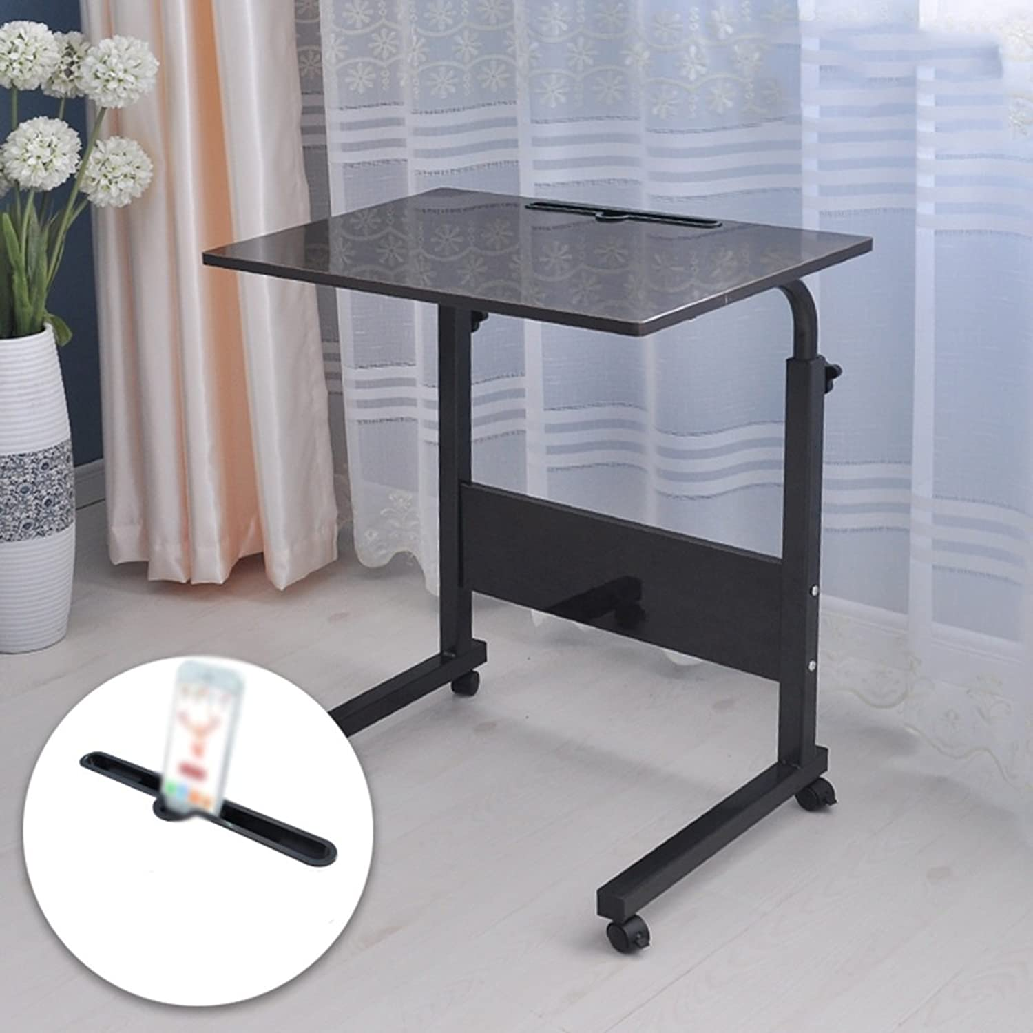 Moveable Lift up and Down Notebook Computer Desk Move The Table Bedside Computer Desk,Desktop 60  40cm