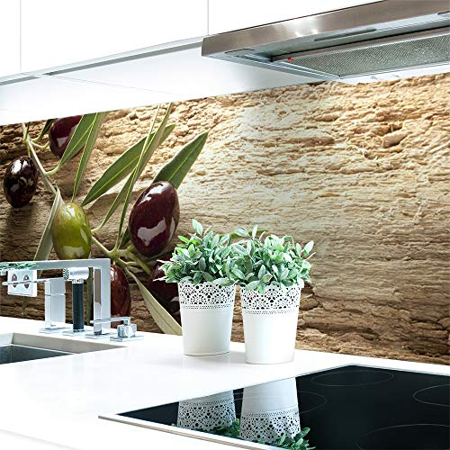 Küchenrückwand Oliven Premium Hart-PVC 0,4 mm selbstklebend 340x60cm