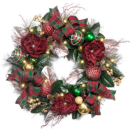 Valery Madelyn Pre-Lit 24 Inch Christmas Wreath for Front Door with Ball Ornaments, Berries, Pine Cones, Tartan Ribbons and Flowers, Battery Operated 20 LED Lights