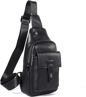 Crossbody Bag Genuine Leather Men's Chest Bag Cowhide Casual Shoulder Bag Fashion Diagonal Package Outdoor Men's Bag 5L Black Leather Bag