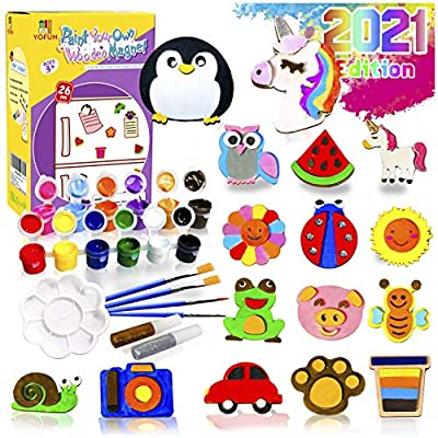 YOFUN Paint Your Own Wooden Magnet - 26 Wood Painting Craft Kit and Art Set for Kids, Art and Craft Supplies Party Favors for Boys Girls Age 4 5 6 7 8, Easter Crafts & Basket Stuffers by Y YOFUN