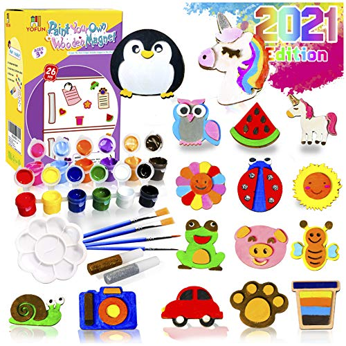 YOFUN Paint Your Own Wooden Magnet  26 Wood Painting Craft Kit and Art Set for Kids Art and Craft Supplies Party Favors for Boys Girls Age 4 5 6 7 8 Easter Crafts amp Basket Stuffers